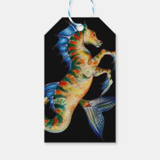 Etiqueta Para Presente cavalo marinho no preto