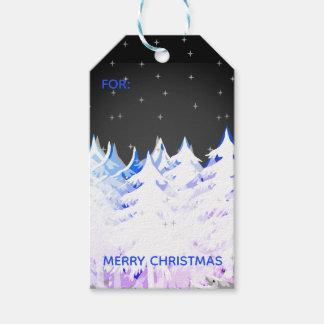 Etiqueta Para Presente Céu nocturno carregado das árvores de Natal da