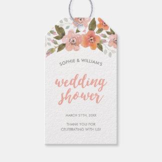 Etiqueta Para Presente Chá de casamento floral delicado do pêssego