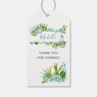 Etiqueta Para Presente Chá de fraldas de vidro dos Succulents do
