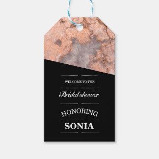Etiqueta Para Presente Chá de panela cor-de-rosa minimalista de quartzo