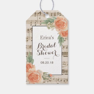 Etiqueta Para Presente Chá de panela musical elegante floral do vintage