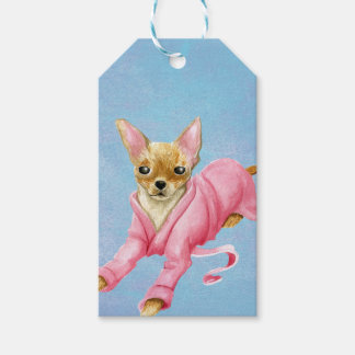 Etiqueta Para Presente Chihuahua em um Tag do presente do cão do Bathrobe