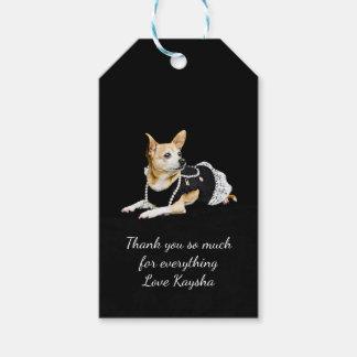 Etiqueta Para Presente Chihuahua glam pintada bege no fundo preto