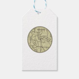 Etiqueta Para Presente Círculo de madeira do Sawing medieval do