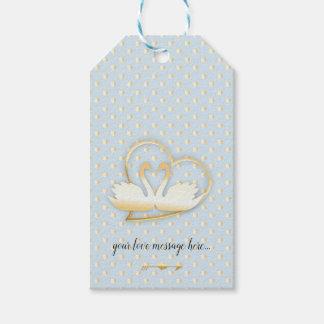 Etiqueta Para Presente Cisnes douradas do coração, amor delicado