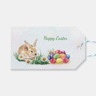 Etiqueta Para Presente Coelhinho da Páscoa, ovos coloridos e margarida