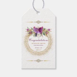 Etiqueta Para Presente Confetes do ouro da flor do brilho da aguarela da