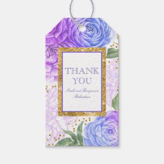 Etiqueta Para Presente Confetes do ouro e floral azul e roxo
