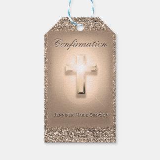 Etiqueta Para Presente Confirmação com cruz de incandescência