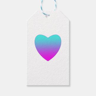 Etiqueta Para Presente Coração cor-de-rosa/azul