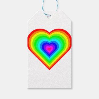 Etiqueta Para Presente Coração do arco-íris