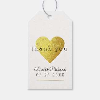 Etiqueta Para Presente coração do ouro do falso do amor, obrigado wed