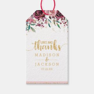 Etiqueta Para Presente Coram amor & obrigados do casamento das listras &