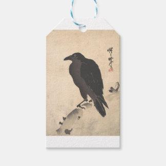 Etiqueta Para Presente Corvo de Kawanabe Kyosai que descansa na arte de