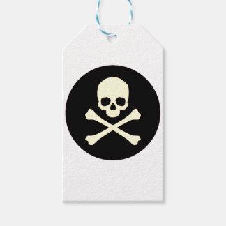 Etiqueta Para Presente crânio e ossos pretos