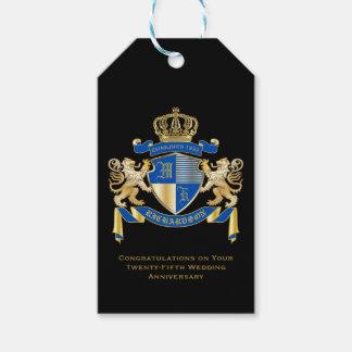 Etiqueta Para Presente Criar seu próprio emblema azul do leão do ouro da