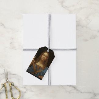 Etiqueta Para Presente Cristo de Salvator Mundi com o mundo em sua mão