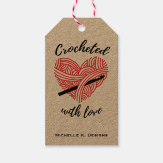 Etiqueta Para Presente Crocheted com amor/artesanatos Handmade do cuidado