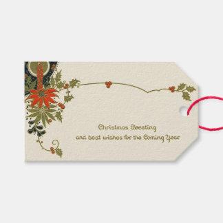 Etiqueta Para Presente Cumprimentos do azevinho da vela do Natal do