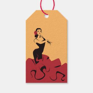 Etiqueta Para Presente dançarino do flamenco em uma pose espectacular
