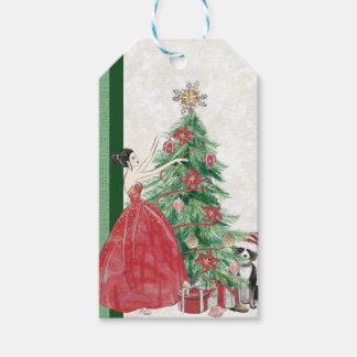Etiqueta Para Presente Decorando a árvore de Natal com cão
