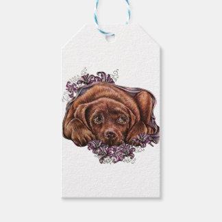 Etiqueta Para Presente Desenho do cão e dos lírios de Brown Labrador