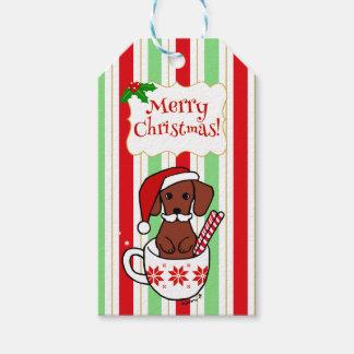 Etiqueta Para Presente Desenhos animados do Natal do bigode do Dachshund