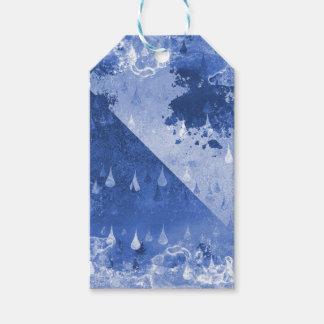 Etiqueta Para Presente Design azul abstrato das gotas da chuva
