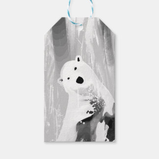 Etiqueta Para Presente Design preto e branco original do urso polar