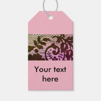 Etiqueta Para Presente Detalhe preto & cor-de-rosa bonito do tecido do