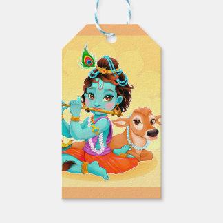 Etiqueta Para Presente Deus indiano de Krishna que joga a ilustração da