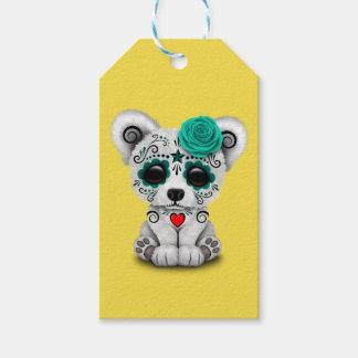 Etiqueta Para Presente Dia azul do urso polar do bebê inoperante