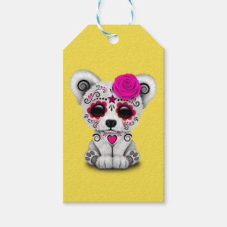 Etiqueta Para Presente Dia cor-de-rosa do urso polar do bebê inoperante