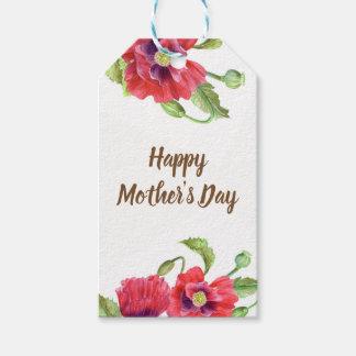Etiqueta Para Presente Dia das mães floral da arte das papoilas vermelhas