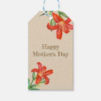 Etiqueta Para Presente Dia das mães floral da arte do lírio alaranjado da