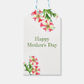 Etiqueta Para Presente Dia das mães floral dos petúnias brancos