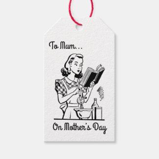 Etiqueta Para Presente Dia das mães preto & branco do vintage