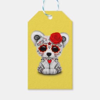 Etiqueta Para Presente Dia vermelho do urso polar do bebê inoperante