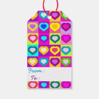 Etiqueta Para Presente Divertimento e corações coloridos