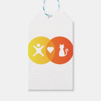 Etiqueta Para Presente Do coração dos gatos pessoas do diagrama de Venn