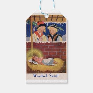 Etiqueta Para Presente Do Natal polonês de Wesołyeh Świąt do vintage arte