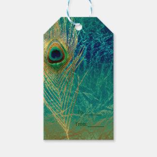 Etiqueta Para Presente Do ouro azul da cerceta da pena do pavão presente