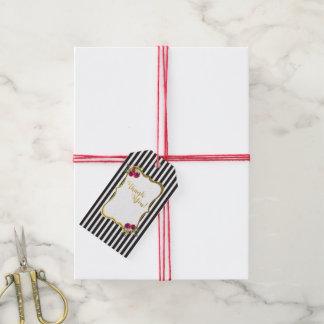 Etiqueta Para Presente Do rosa preto e branco da listra da folha de ouro