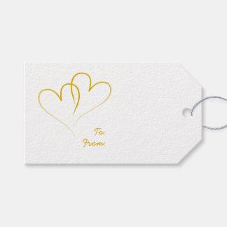 Etiqueta Para Presente Dois corações do ouro entrelaçados