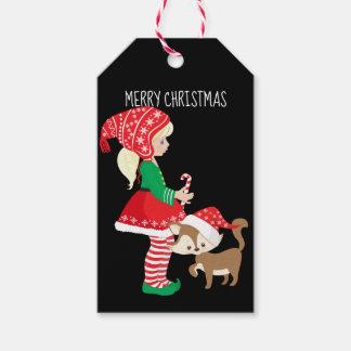 Etiqueta Para Presente Duende da menina do Feliz Natal e gato do Natal