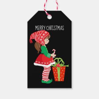Etiqueta Para Presente Duende da menina do Feliz Natal e pacote do Natal