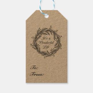Etiqueta Para Presente É uma vida maravilhosa - Tag do presente do Natal