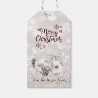 Etiqueta Para Presente Elegante, bolas do Natal, Pinecone, Bokeh Glittery
