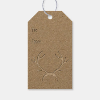 Etiqueta Para Presente Entalhe do falso - Antlers - Tag #3 do presente